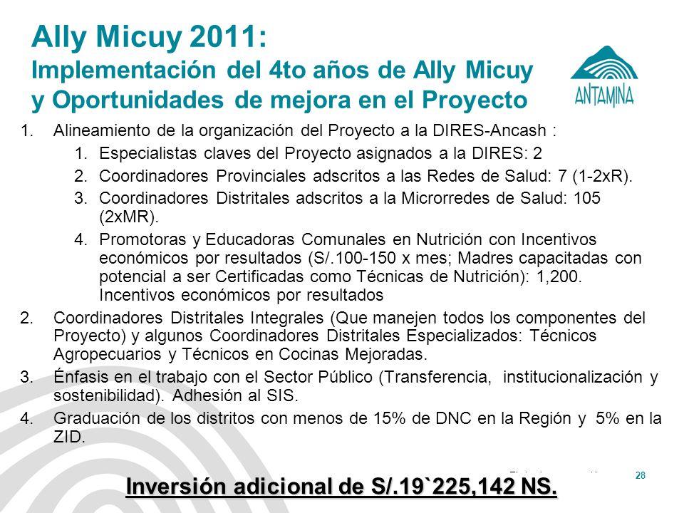 Antamina: Título de presentación28 Ally Micuy 2011: Implementación del 4to años de Ally Micuy y Oportunidades de mejora en el Proyecto 1.Alineamiento