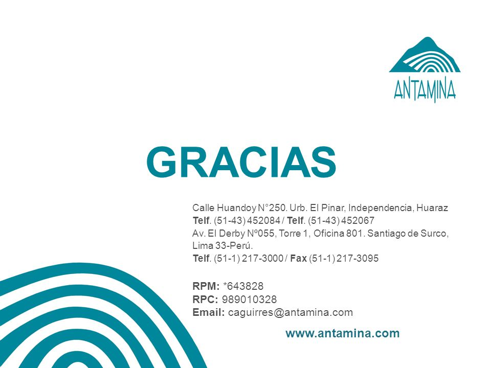 Calle Huandoy N°250. Urb. El Pinar, Independencia, Huaraz Telf. (51-43) 452084 / Telf. (51-43) 452067 Av. El Derby Nº055, Torre 1, Oficina 801. Santia