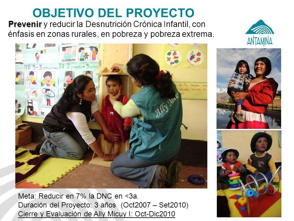 Antamina: Título de presentación8 OBJETIVO DEL PROYECTO Prevenir Prevenir y reducir la Desnutrición Crónica Infantil, con énfasis en zonas rurales, en