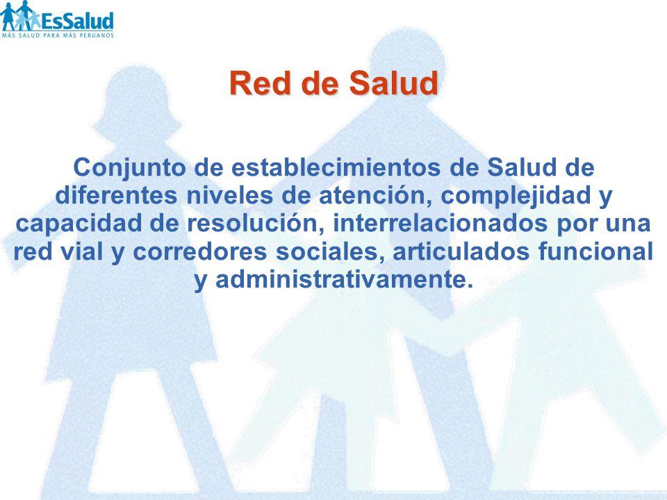 Red de Salud Conjunto de establecimientos de Salud de diferentes niveles de atención, complejidad y capacidad de resolución, interrelacionados por una