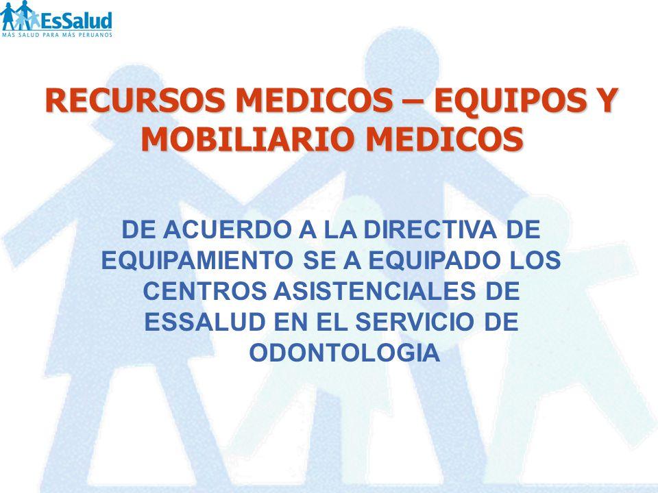 RECURSOS MEDICOS – EQUIPOS Y MOBILIARIO MEDICOS DE ACUERDO A LA DIRECTIVA DE EQUIPAMIENTO SE A EQUIPADO LOS CENTROS ASISTENCIALES DE ESSALUD EN EL SER