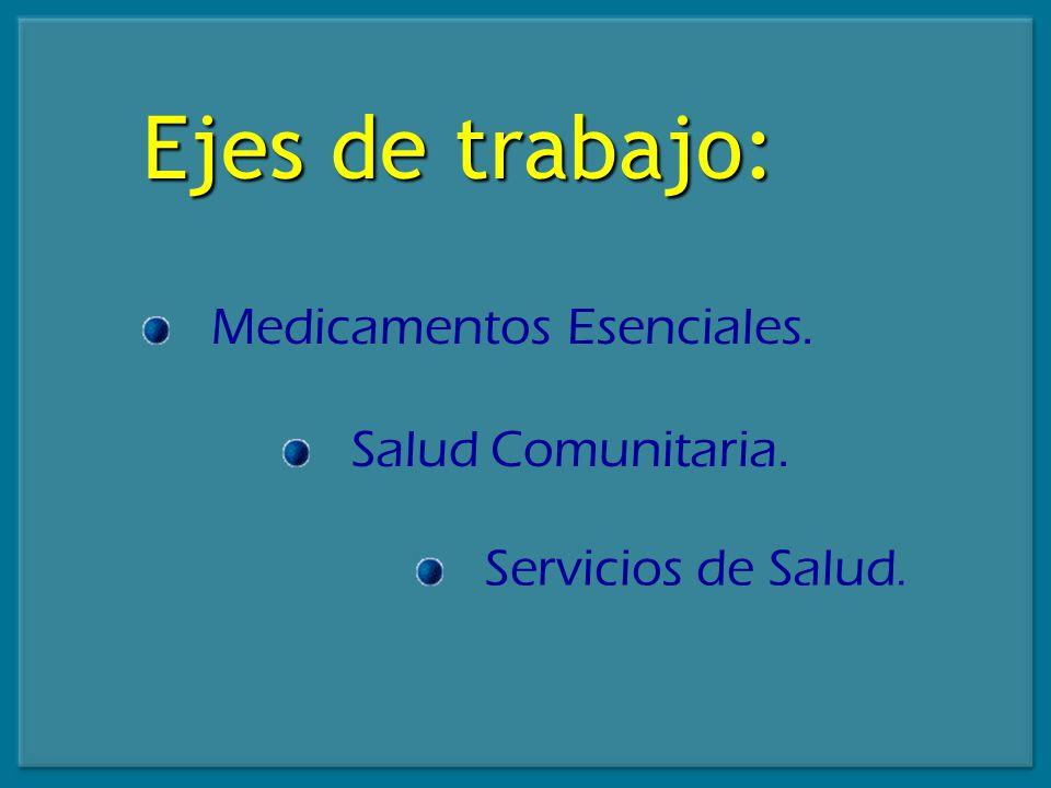 Ejes de trabajo: Medicamentos Esenciales. Salud Comunitaria. Servicios de Salud.