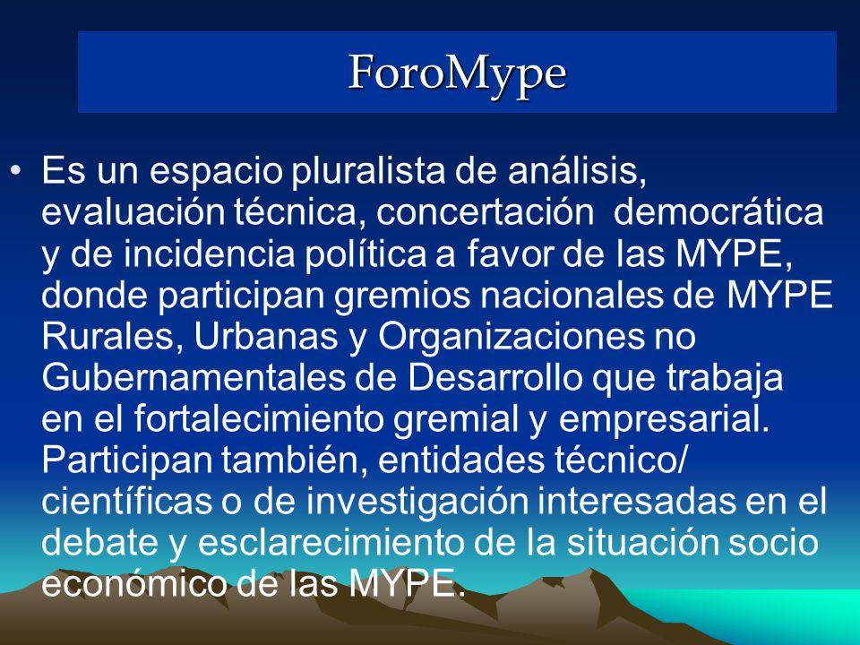ForoMype Es un espacio pluralista de análisis, evaluación técnica, concertación democrática y de incidencia política a favor de las MYPE, donde participan gremios nacionales de MYPE Rurales, Urbanas y Organizaciones no Gubernamentales de Desarrollo que trabaja en el fortalecimiento gremial y empresarial.