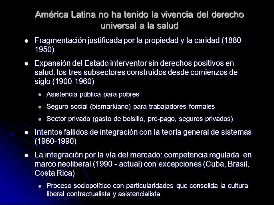 Protección social universal Lineamientos de organización Protección social derivada de la condición de ciudadano (¿habitante?) y no de la capacidad de pago de los individuos, en el marco de UNASUR Protección social derivada de la condición de ciudadano (¿habitante?) y no de la capacidad de pago de los individuos, en el marco de UNASUR Universal con discriminación positiva (superación de inequidades) Universal con discriminación positiva (superación de inequidades) De financiación mixta, pero integrada, para garantizar solidaridad (ricos-pobres; jóvenes-viejos; sanos-enfermos) De financiación mixta, pero integrada, para garantizar solidaridad (ricos-pobres; jóvenes-viejos; sanos-enfermos) Articulada a trabajo estable y de calidad (¿decente?) Articulada a trabajo estable y de calidad (¿decente?) Descentralizado y participativo en su administración y control público (territorios sociales y dinámica socioambiental) Descentralizado y participativo en su administración y control público (territorios sociales y dinámica socioambiental) De provisión mixta, intercultural territorial.