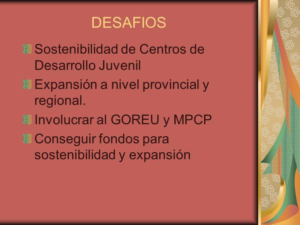 DESAFIOS Sostenibilidad de Centros de Desarrollo Juvenil Expansión a nivel provincial y regional. Involucrar al GOREU y MPCP Conseguir fondos para sos