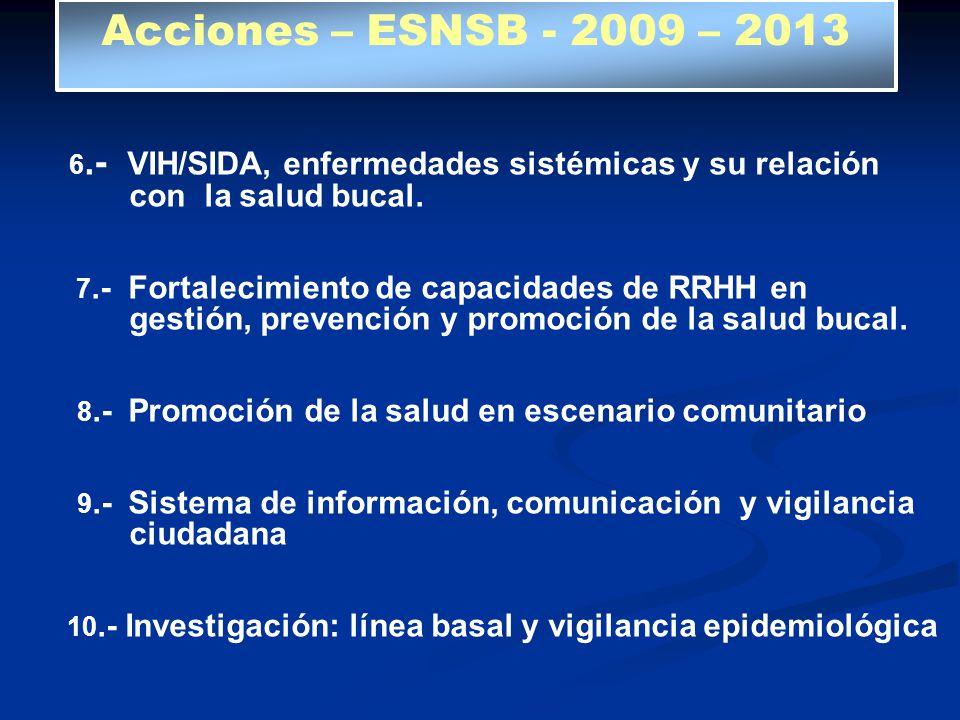 6.- VIH/SIDA, enfermedades sistémicas y su relación con la salud bucal. 7.- Fortalecimiento de capacidades de RRHH en gestión, prevención y promoción