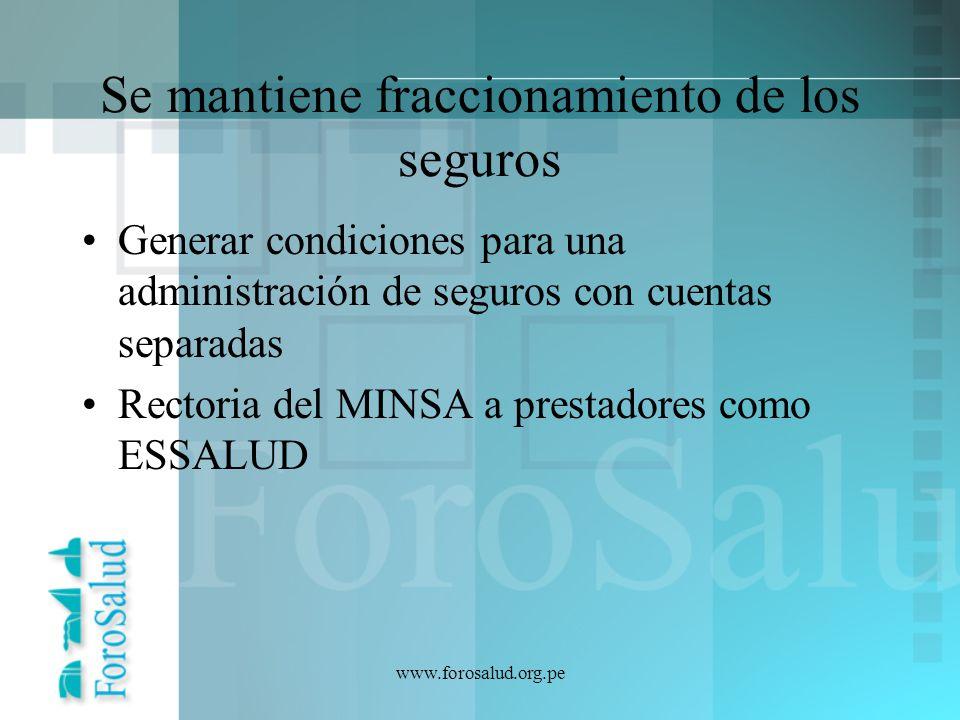www.forosalud.org.pe ADMINISTRADORES PRIVADOS FONDOS PRIVADOS PROVEEDORES PRIVADOS FONDO UNICO ADMINISTRADORA UNICA CUENTA RS – MINSA/SIS MINSA Sistema Nacional de Salud CUENTA RC - ESSALUD PROVISION INTEGRADA ESSALUD – MINSA EP FAP MG PNPN PGS PC PGS SEGURO PÚBLICO UNIFICADO AUTOSEGUROS INSTITUCIONALES SEGUROS PRIVADOS COMPLEMENTARIOS PROPUESTA CMP – Foro Salud MODELO INTEGRADO FINANCIADOR PROVEEDOR