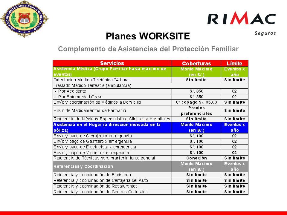 Complemento de Asistencias del Protección Familiar Planes WORKSITE