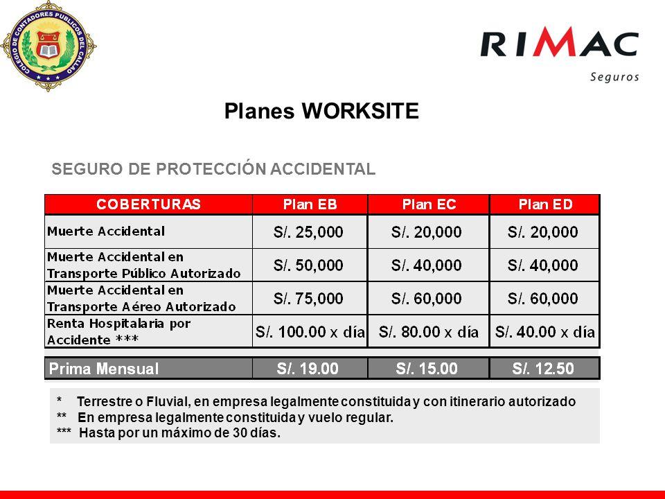 SEGURO DE PROTECCIÓN ACCIDENTAL * Terrestre o Fluvial, en empresa legalmente constituida y con itinerario autorizado ** En empresa legalmente constitu