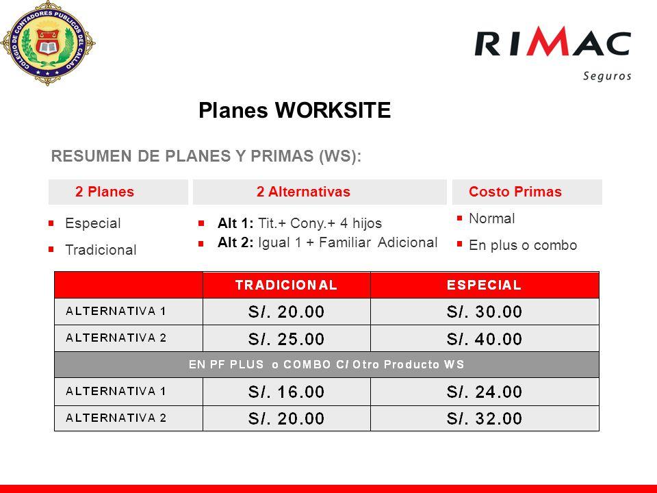 RESUMEN DE PLANES Y PRIMAS (WS): 2 Planes2 AlternativasCosto Primas Especial Tradicional Alt 1: Tit.+ Cony.+ 4 hijos Alt 2: Igual 1 + Familiar Adicion