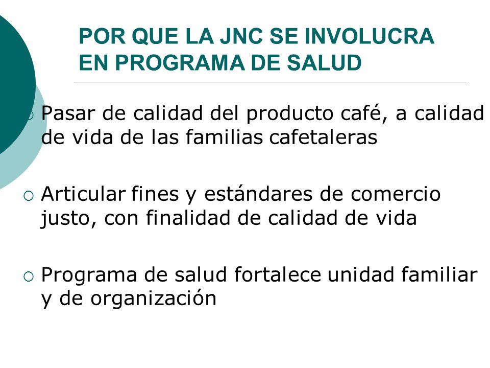 POR QUE LA JNC SE INVOLUCRA EN PROGRAMA DE SALUD Pasar de calidad del producto café, a calidad de vida de las familias cafetaleras Articular fines y e