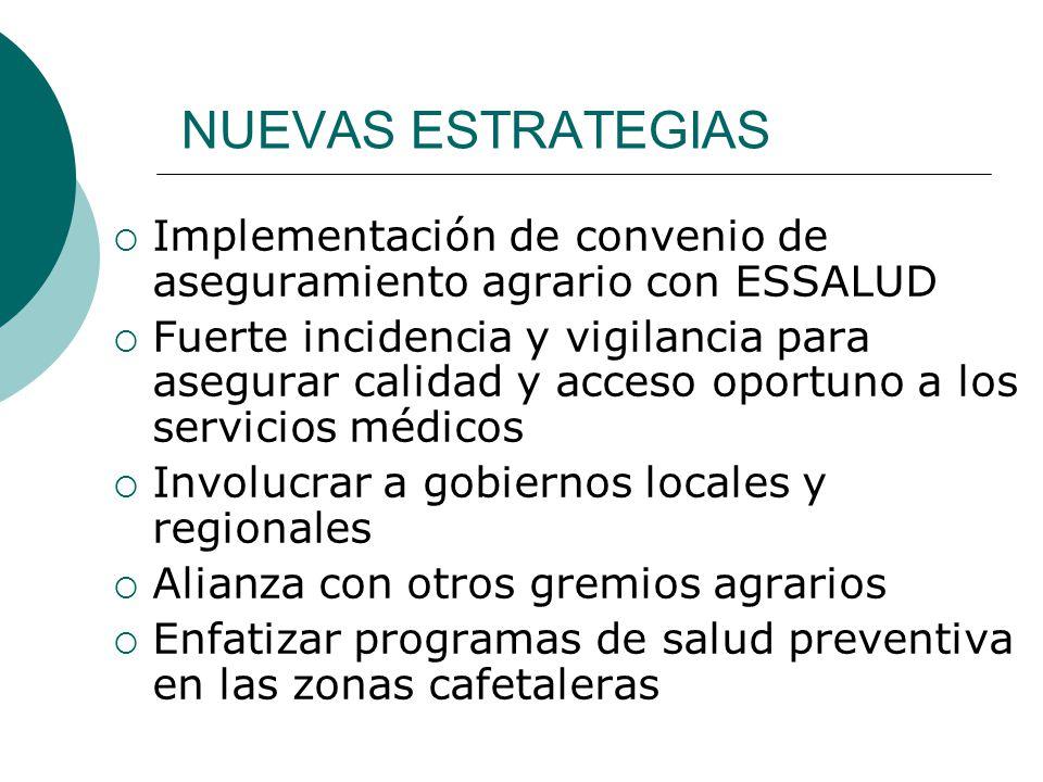 NUEVAS ESTRATEGIAS Implementación de convenio de aseguramiento agrario con ESSALUD Fuerte incidencia y vigilancia para asegurar calidad y acceso oport