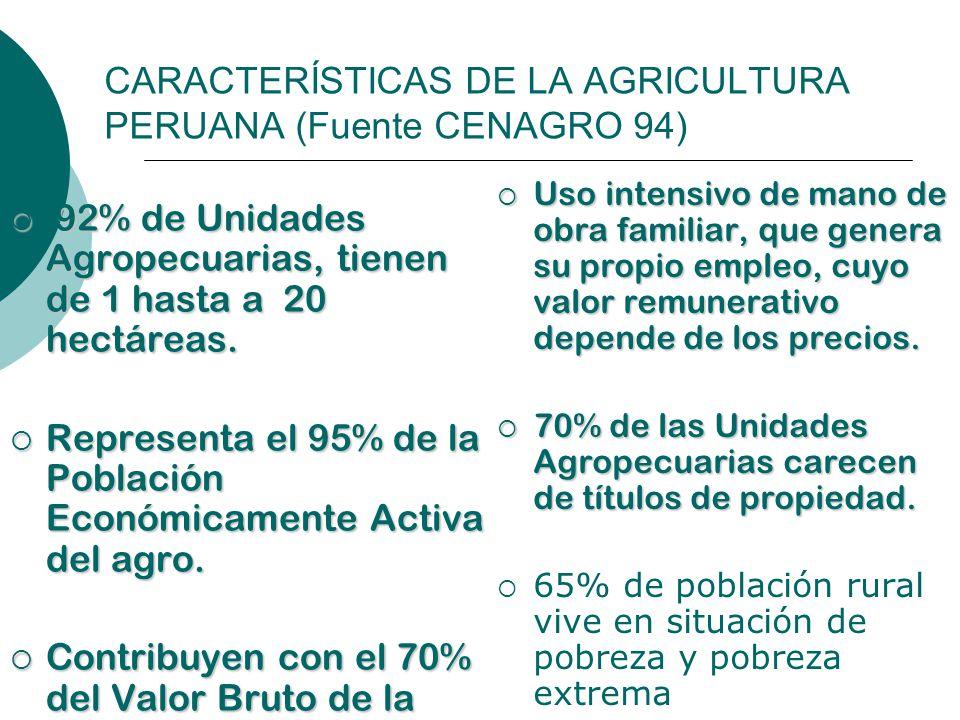 CARACTERÍSTICAS DE LA AGRICULTURA PERUANA (Fuente CENAGRO 94) 92% de Unidades Agropecuarias, tienen de 1 hasta a 20 hectáreas. 92% de Unidades Agropec