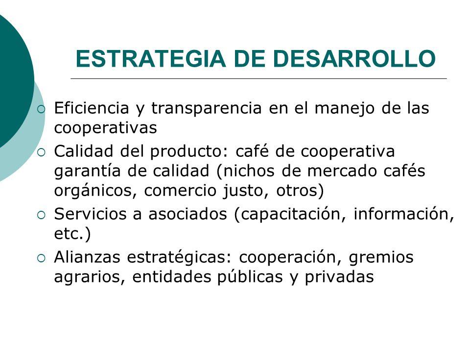 ESTRATEGIA DE DESARROLLO Eficiencia y transparencia en el manejo de las cooperativas Calidad del producto: café de cooperativa garantía de calidad (ni