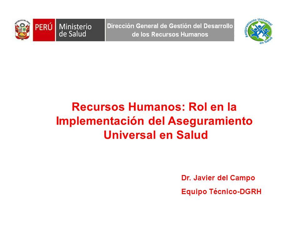 El déficit de recursos humanos en el Perú (N° de médicos, enfermeras y obstetras por 10000 hab.) es similar al de los países de África Subsahariana.