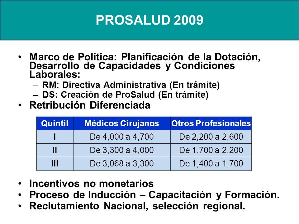 PROSALUD 2009 Marco de Política: Planificación de la Dotación, Desarrollo de Capacidades y Condiciones Laborales: –RM: Directiva Administrativa (En trámite) –DS: Creación de ProSalud (En trámite) Retribución Diferenciada Incentivos no monetarios Proceso de Inducción – Capacitación y Formación.