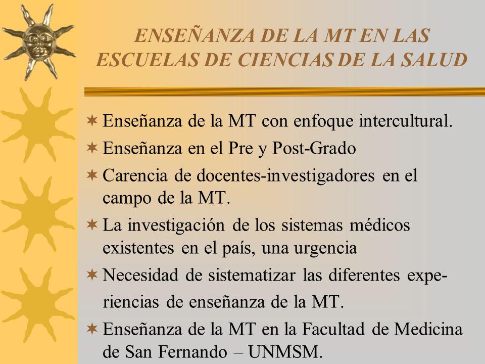 ENSEÑANZA DE LA MT EN LAS ESCUELAS DE CIENCIAS DE LA SALUD Enseñanza de la MT con enfoque intercultural.