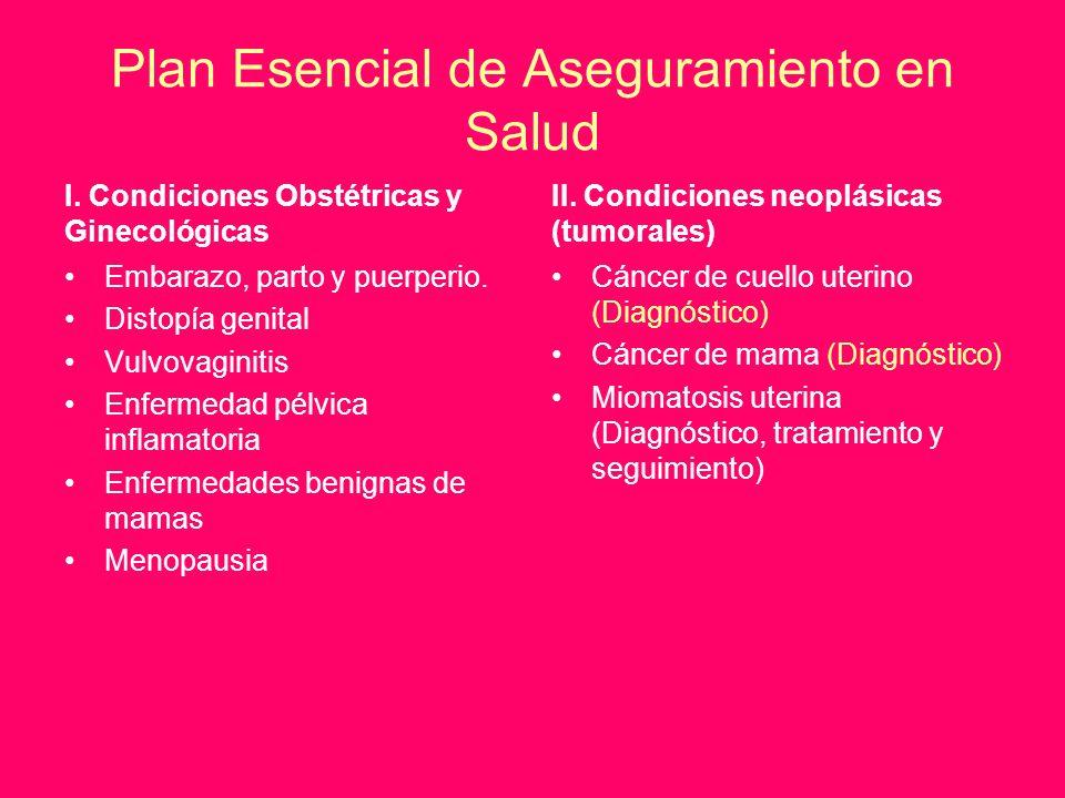 Plan Esencial de Aseguramiento en Salud I. Condiciones Obstétricas y Ginecológicas Embarazo, parto y puerperio. Distopía genital Vulvovaginitis Enferm
