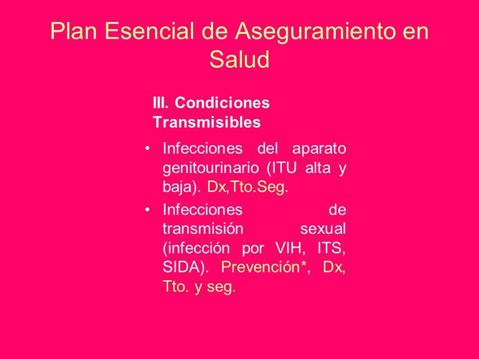 Plan Esencial de Aseguramiento en Salud III. Condiciones Transmisibles Infecciones del aparato genitourinario (ITU alta y baja). Dx,Tto.Seg. Infeccion