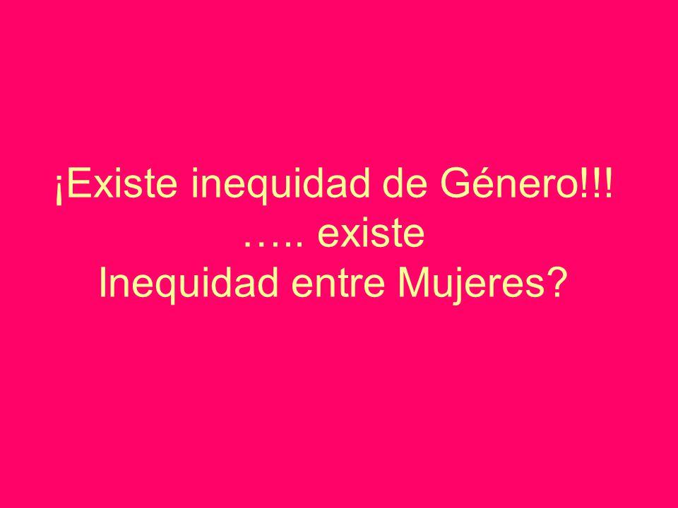 ¡Existe inequidad de Género!!! ….. existe Inequidad entre Mujeres?