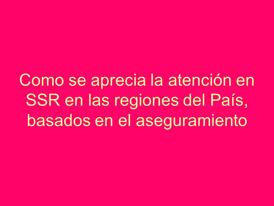 Como se aprecia la atención en SSR en las regiones del País, basados en el aseguramiento