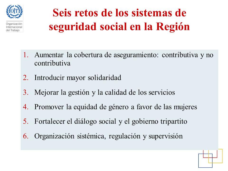 Seis retos de los sistemas de seguridad social en la Región 1.Aumentar la cobertura de aseguramiento: contributiva y no contributiva 2.Introducir mayo