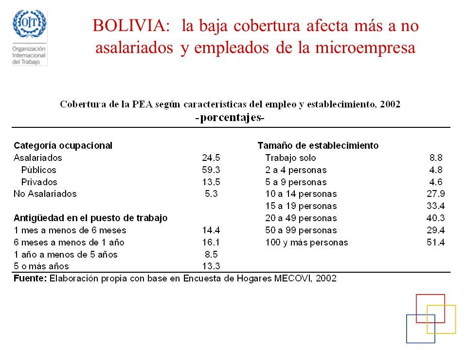 BOLIVIA: la baja cobertura afecta más a no asalariados y empleados de la microempresa