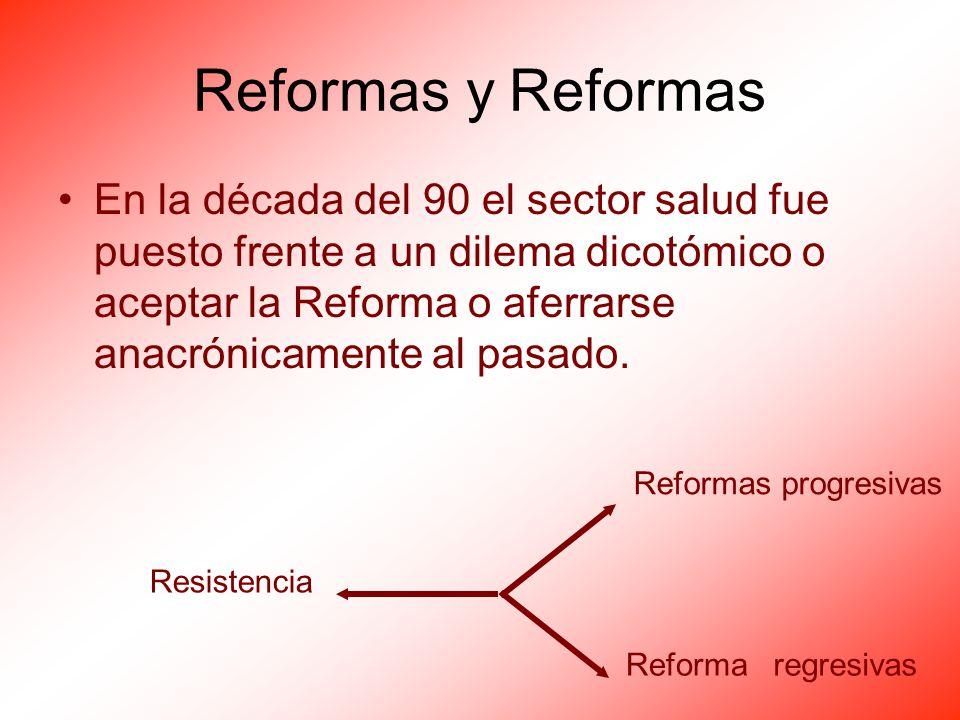 Reformas y Reformas En la década del 90 el sector salud fue puesto frente a un dilema dicotómico o aceptar la Reforma o aferrarse anacrónicamente al p