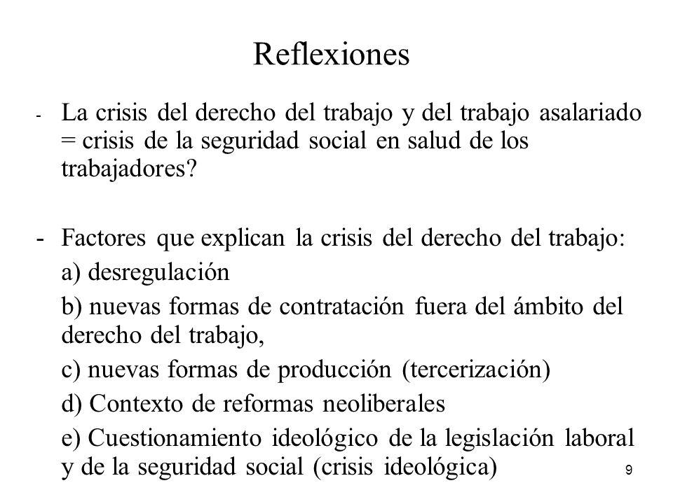 9 Reflexiones - La crisis del derecho del trabajo y del trabajo asalariado = crisis de la seguridad social en salud de los trabajadores.
