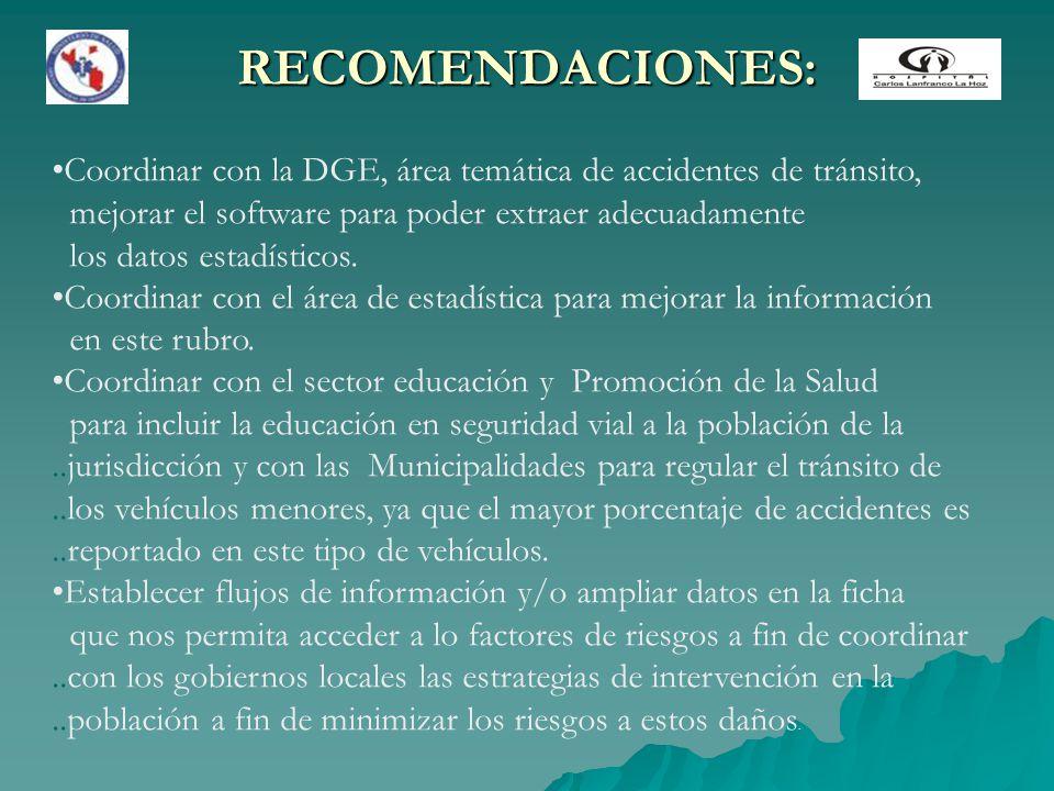 RECOMENDACIONES: Coordinar con la DGE, área temática de accidentes de tránsito, mejorar el software para poder extraer adecuadamente los datos estadís