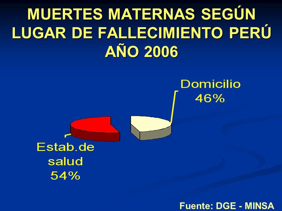 MUERTES MATERNAS SEGÚN LUGAR DE FALLECIMIENTO PERÚ AÑO 2006 Fuente: DGE - MINSA