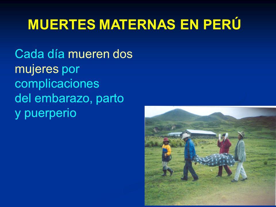 Cada día mueren dos mujeres por complicaciones del embarazo, parto y puerperio MUERTES MATERNAS EN PERÚ