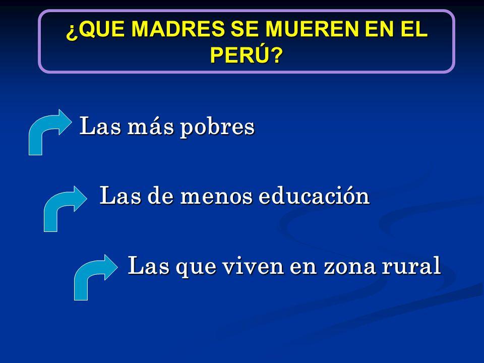 Las más pobres Las de menos educación Las de menos educación Las que viven en zona rural ¿QUE MADRES SE MUEREN EN EL PERÚ?