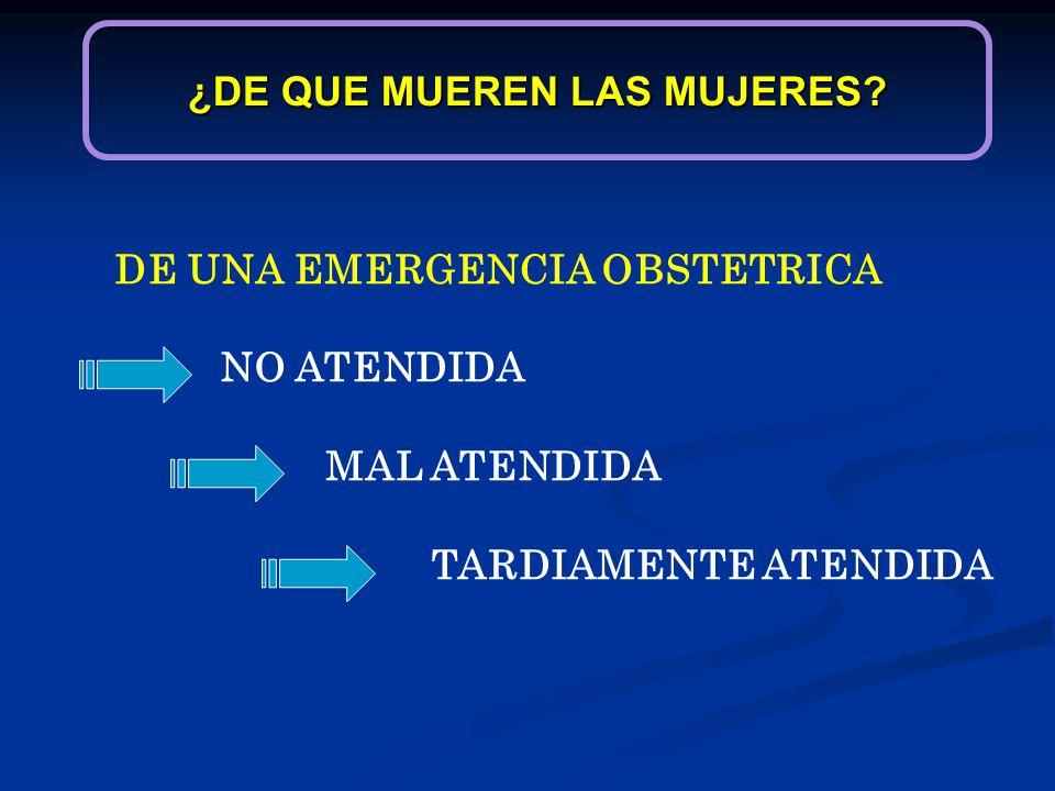 ¿DE QUE MUEREN LAS MUJERES? DE UNA EMERGENCIA OBSTETRICA NO ATENDIDA MAL ATENDIDA TARDIAMENTE ATENDIDA