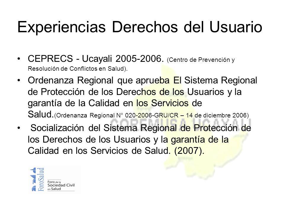 CEPRECS - Ucayali 2005-2006. (Centro de Prevención y Resolución de Conflictos en Salud).