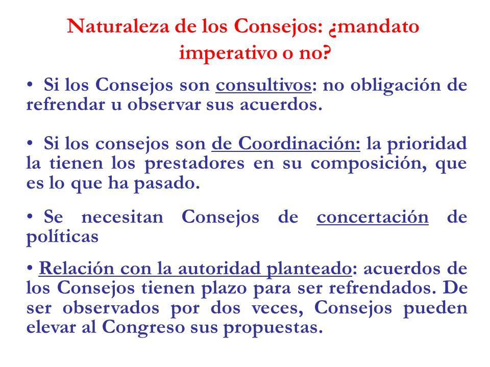 Naturaleza de los Consejos: ¿mandato imperativo o no? Si los Consejos son consultivos: no obligación de refrendar u observar sus acuerdos. Si los cons