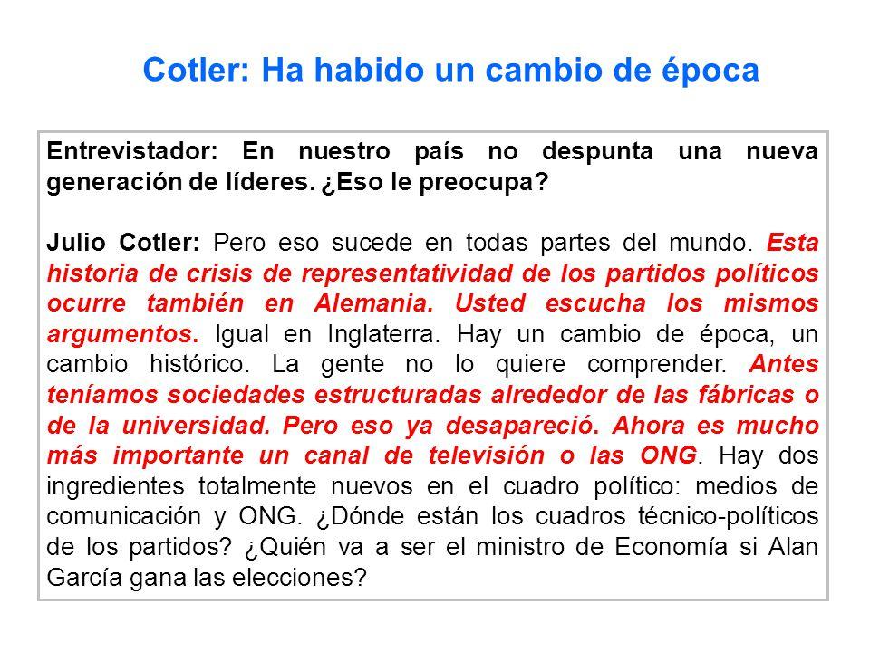 Entrevistador: En nuestro país no despunta una nueva generación de líderes. ¿Eso le preocupa? Julio Cotler: Pero eso sucede en todas partes del mundo.