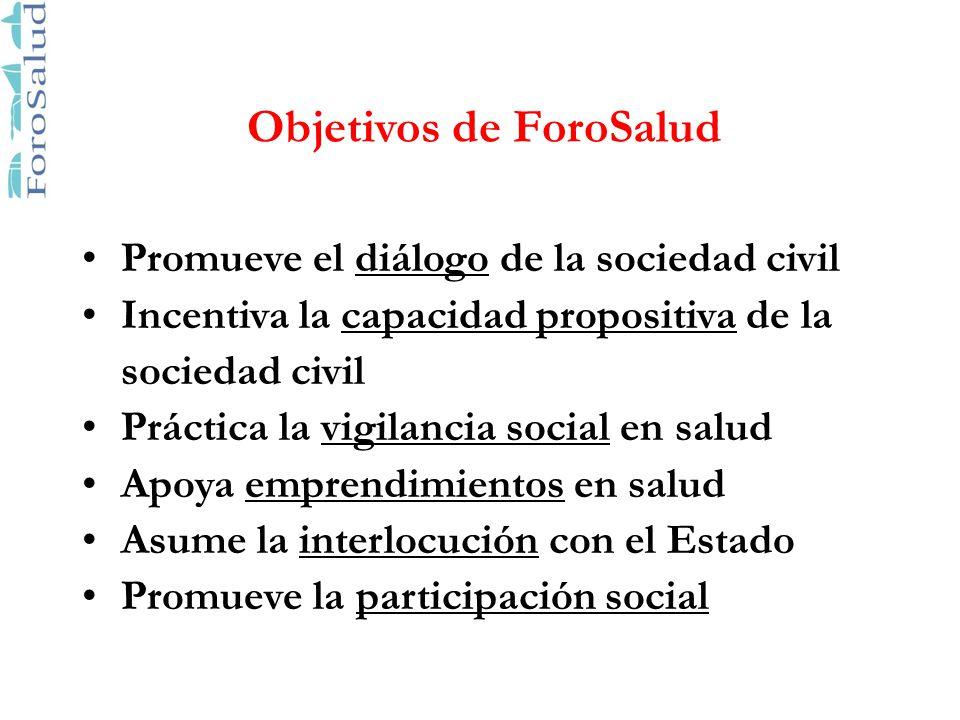 Objetivos de ForoSalud Promueve el diálogo de la sociedad civil Incentiva la capacidad propositiva de la sociedad civil Práctica la vigilancia social