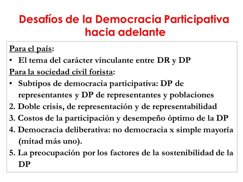 Para el país: El tema del carácter vinculante entre DR y DP Para la sociedad civil forista: Subtipos de democracia participativa: DP de representantes