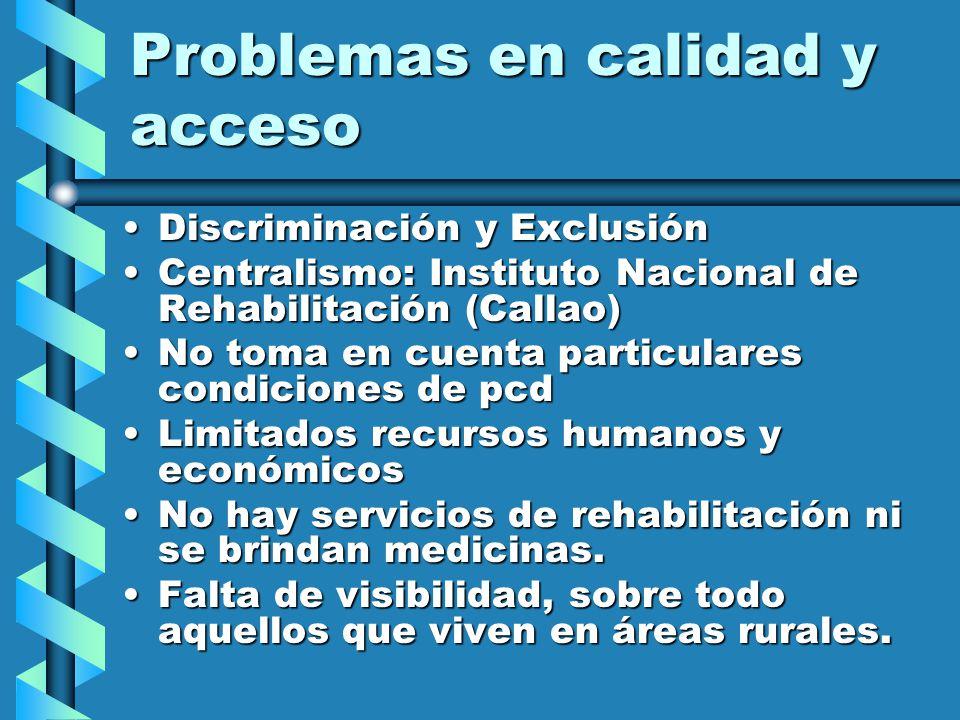 CIFRAS DE LA EXCLUSION SALUD Solo 1,42% de la población con discapacidad accede al beneficio de prestaciones sociales y Seguridad Social (Essalud).