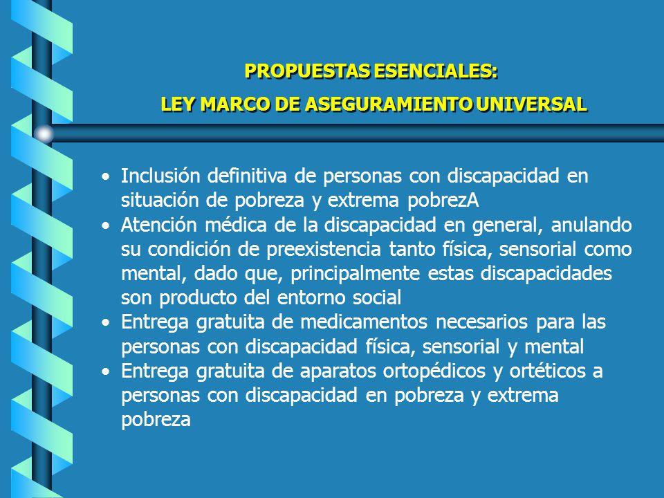 PROPUESTAS ESENCIALES LEY MARCO DE ASEGURAMIENTO UNIVERSAL PROPUESTAS ESENCIALES LEY MARCO DE ASEGURAMIENTO UNIVERSAL