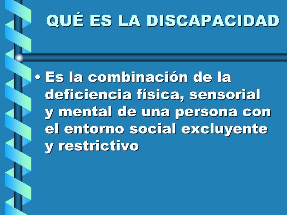 QUÉ ES LA DISCAPACIDAD Es la combinación de la deficiencia física, sensorial y mental de una persona con el entorno social excluyente y restrictivoEs la combinación de la deficiencia física, sensorial y mental de una persona con el entorno social excluyente y restrictivo