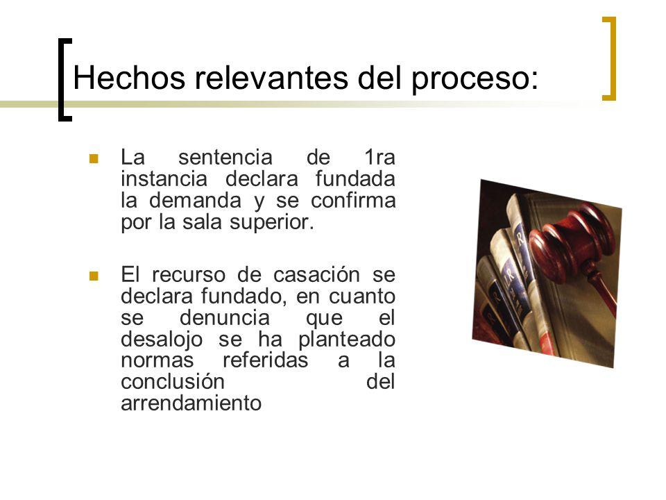 Hechos relevantes del proceso: La sentencia de 1ra instancia declara fundada la demanda y se confirma por la sala superior.