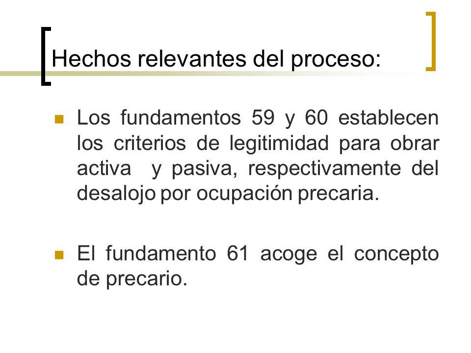 Hechos relevantes del proceso: Los fundamentos 59 y 60 establecen los criterios de legitimidad para obrar activa y pasiva, respectivamente del desalojo por ocupación precaria.