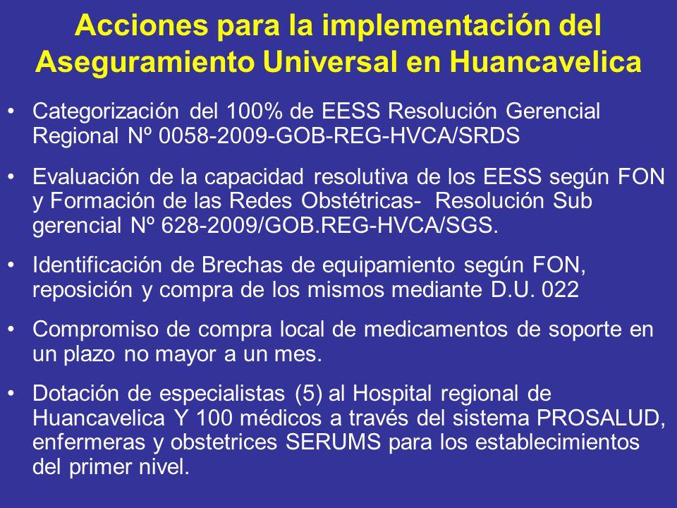 Acciones para la implementación del Aseguramiento Universal en Huancavelica Categorización del 100% de EESS Resolución Gerencial Regional Nº 0058-2009-GOB-REG-HVCA/SRDS Evaluación de la capacidad resolutiva de los EESS según FON y Formación de las Redes Obstétricas- Resolución Sub gerencial Nº 628-2009/GOB.REG-HVCA/SGS.