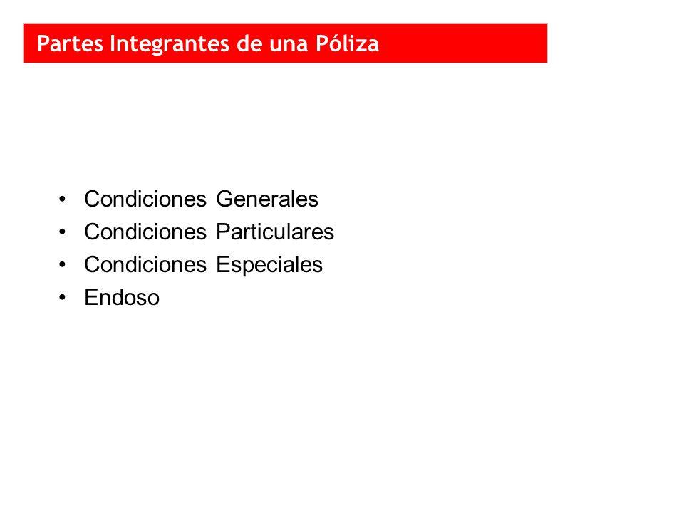 Condiciones Generales Condiciones Particulares Condiciones Especiales Endoso Partes Integrantes de una Póliza