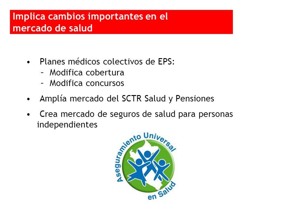 Planes médicos colectivos de EPS: –Modifica cobertura –Modifica concursos Amplía mercado del SCTR Salud y Pensiones Crea mercado de seguros de salud para personas independientes Implica cambios importantes en el mercado de salud
