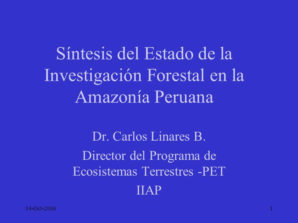 04-Oct-200412 Manejo de Bosques Secundarios CNF y CIFOR en Pucallpa; CEDISA en Tarapoto, ensayaron modelos de manejo y aprovechamiento, en tierras degradadas junto a carreteras Enfoque de cedisa mas agroforestal Barreras: fertilidad de suelos y mercado de mezcla de maderas Mejores alternativas: BS Aluviales, bolaina Cedisa y CNF instalaron plantas de transformación