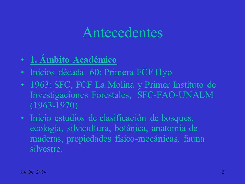 04-Oct-20042 Antecedentes 1. Ámbito Académico Inicios década 60: Primera FCF-Hyo 1963: SFC, FCF La Molina y Primer Instituto de Investigaciones Forest