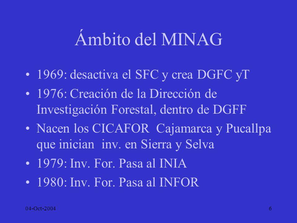 04-Oct-20046 Ámbito del MINAG 1969: desactiva el SFC y crea DGFC yT 1976: Creación de la Dirección de Investigación Forestal, dentro de DGFF Nacen los
